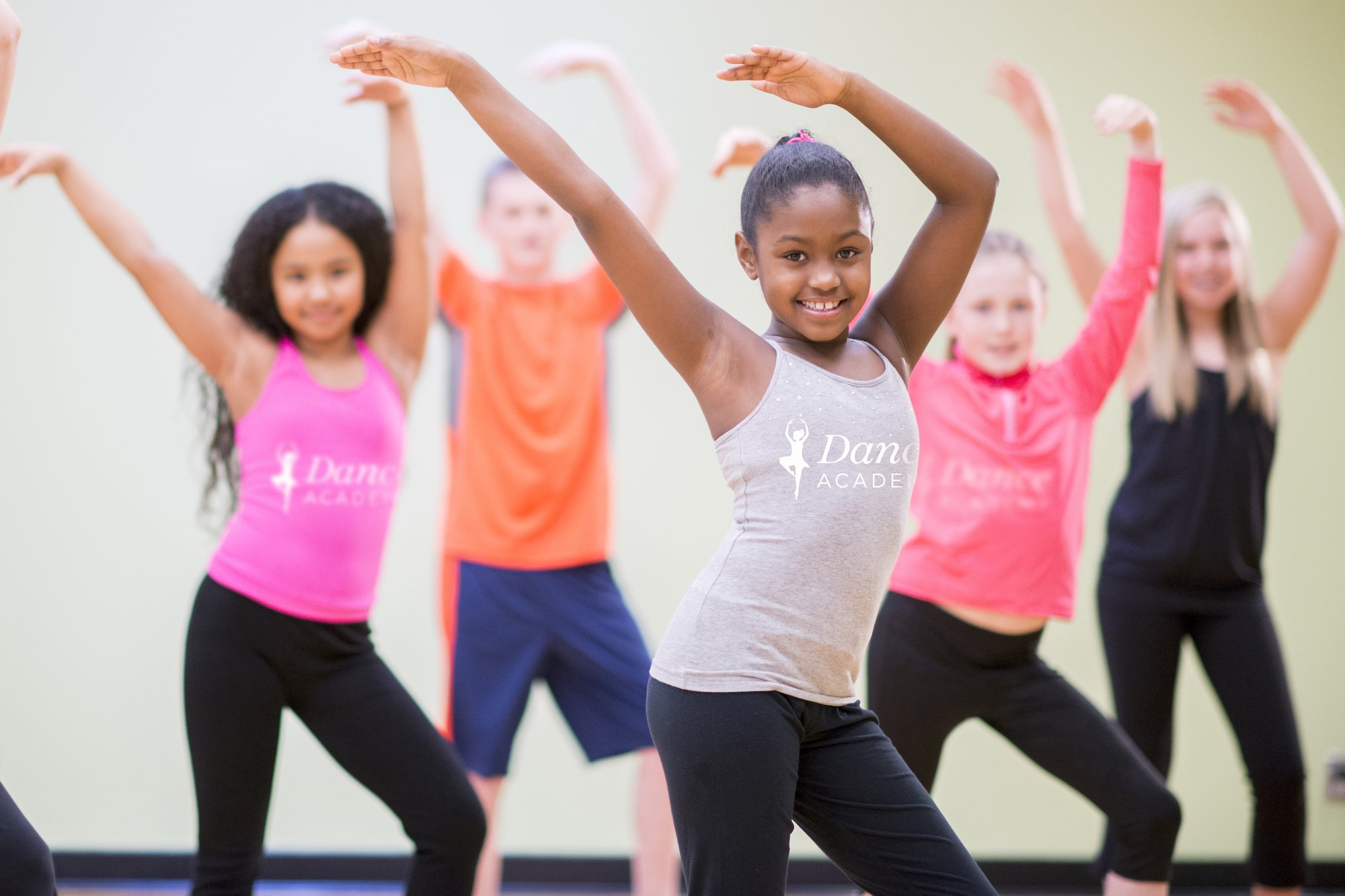 Young dancers wearing personalized apparel