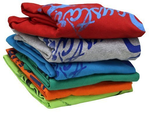Pile of folded clothes with personalized graphics